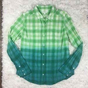 Caslon Dip Dye Plaid Button Down Shirt